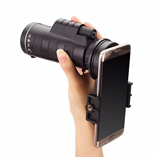 Handy-Teleskop, M.Way Universal12x50 / 10x40 Teleobjektiv Wandern Konzert Kamera-Objektiv-Binokel Universalhalter + Tasche für iPhone Sony Samsung Moto usw. 1 10x40