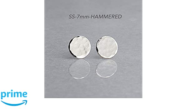 659f53907 Amazon.com: Sterling Silver Round Disc Stud Earrings SS-7M-HAMMERED STUDS:  Handmade