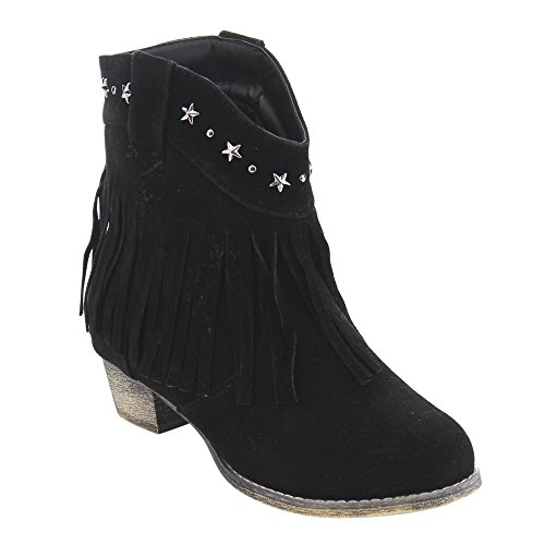 f5cfcfa1839 I Yokids Cece-65K Girl s Modern Studded Fringe Cowboy Chunky Ankle Bootie