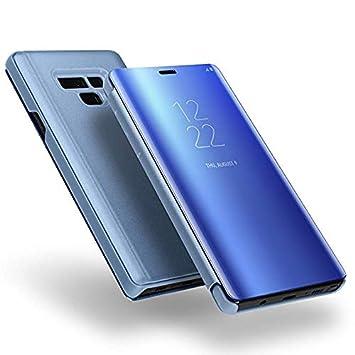 DGBAY Samsung Galaxy Note 9 Funda Vista Inteligente, Lujo Carcasa Case Cover Espejo Clear View Standing Protector de Pantalla Plegable Flip de ...