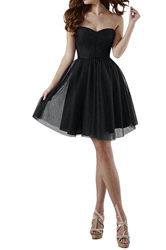 Brautjungfernkleider Mini Schwarz Kleider Abendkleider Cocktailkleider mia La Traegerlos Herzausschnitt Brau Jugendweihe Kurz Einfach UqAO7