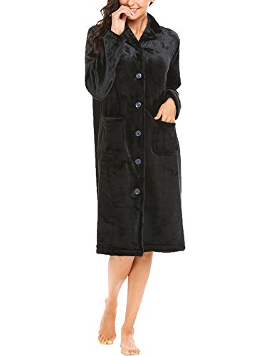 Declare Womens Comfy Long Nightgown Lounger Thicked Nighties Gowns Robes(Black (Down Bed Jacket)