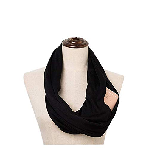 Lock Scarf Key And - 100% Cotton WomenInfinity Scarf Wrap with Secret Hidden Zipper Pocket Fashion Circle Loop Travel Scarfs for Spring Winter