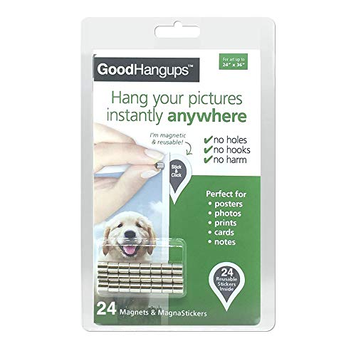 GoodHangups Damage Free Magnetic Poster and Picture Hangers Reusable Works on Any Wall As Seen On Shark Tank 24 Pack
