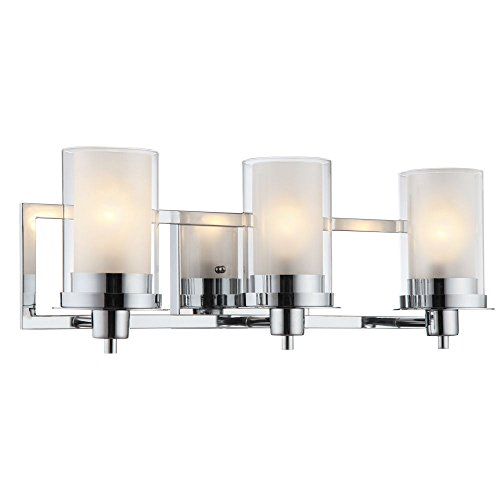 Designers Impressions Juno Polished Chrome 3 Light Wall Sconce Bathroom Fixture With Clear And