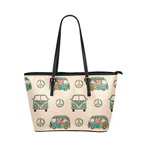 - InterestPrint Hippy Camper Bus with Hippie Peace Sign Leather Tote Shoulder Bags Zippered Handbags for Women