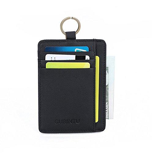 Mens RFID Blocking Wallet, SUSEN Slim Front Pocket Minimalist Wallet Card Holder Genuine Leather with Key Ring & ID Window