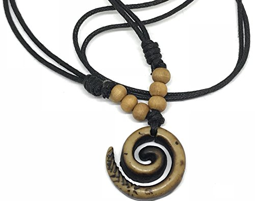 Mariners Cord Necklace with Spiral Yak Bone Carved Maori Pendant Necklace Wood Bead Adjustable Black Cord (Brown Wood Necklace)