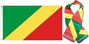 """Al por mayor Combo Set República del Congo Bandera de país 3x 53'x5' y 8""""x60"""" bufanda resistente a la decoloración doble cosido Premium banderín casa bandera ojales"""