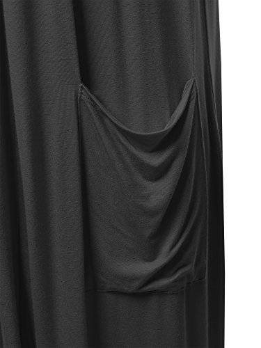 Made by Emma Long Sleeve Side Pockets Midi Length Open Front Cardigan Black L by Made by Emma (Image #2)