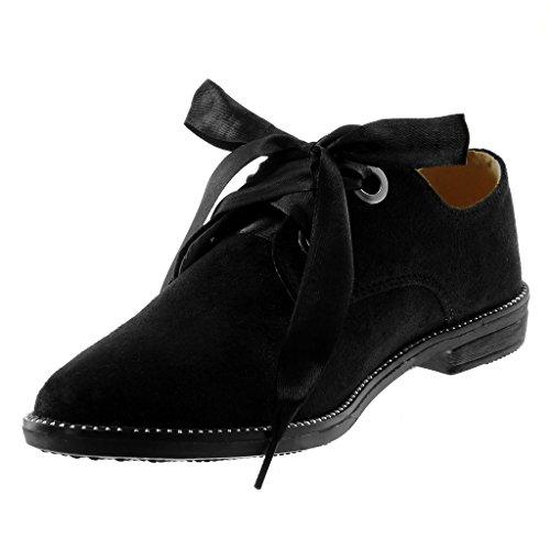 Bloc Ruban Satin Mode Clouté Femme Talon Chaussure 5 Noir cm Derbies Brillant Lacet 2 Angkorly Chic 5nCqPfYw0n