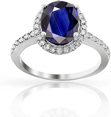 3.00ctw Genuine Sapphire and Diamond Halo Ring in 14K White Gold, Oval