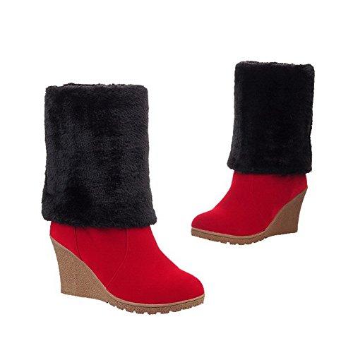 AllhqFashion Mujeres Gamuza(Imitado) Caña Alta Sólido Sin cordones Tacón Alto Botas Rojo