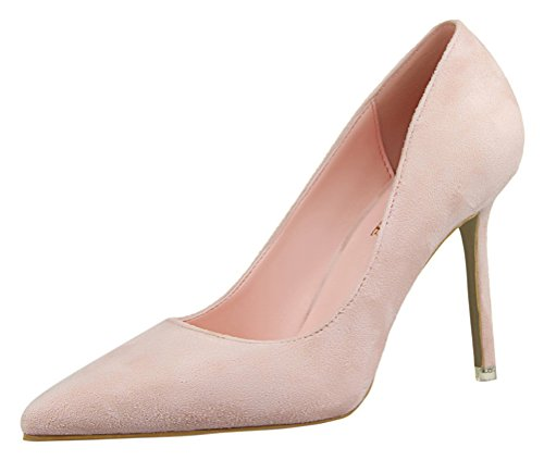 (Passionow Women's New Elegant Classic Wedding Party Comfort Stiletto Heel Pointed Toe Suede Pumps (5 B(M) US,Pink))
