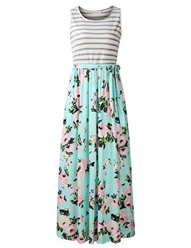 - FANVOOK Beach Dress, Ladies Summer Striped Crew Neck Long Maxi Dress Dress with Pockets GP M