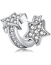 WOSTU Star Charms Bead, 925 Sterling Silver CZ Bead Charms Fits European Bracelets Necklace.