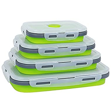 Silicone Food Storage Containers with BPA Free Airtight Plastic Lids - Collapsible Meal Prep Container for Kitchen or Kids Lunch Bento Boxes - Microwave and Freezer Safe (Green- 4 pcs)
