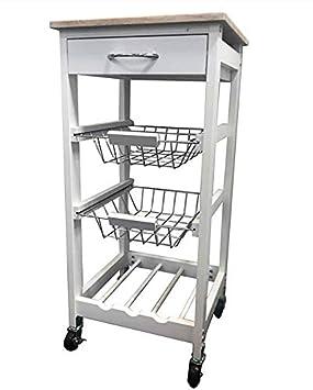 MAIMAITI Carrito de Cocina, Blanco, Tablero de aglomerado de Madera, 2 cestas prácticas extraíbles-HKD01-WEI: Amazon.es: Hogar
