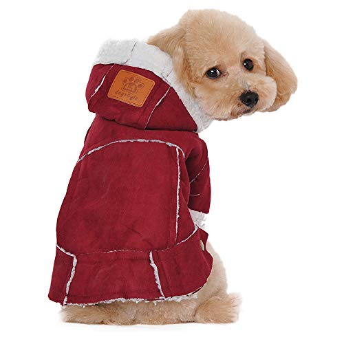 Hpapadks British pet Clothing,Suede Fabric Dog Clothes Winter Warm Clothing for Dogs Jacket Pet Dog Jackets Dog Coat
