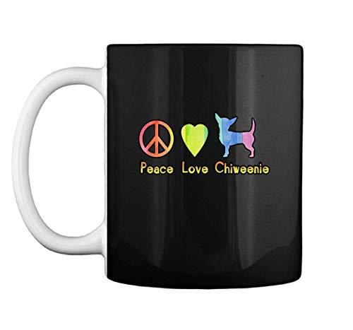 PEACE LOVE CHIWEENIES Cute Colorful Tie Dye Chiweenie Gift Mug Coffee Mug (White, 11 oz)