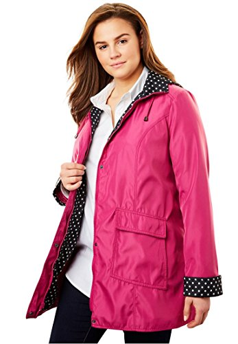Woman Within Plus Size Raincoat in Short Length Fun Dot Trim