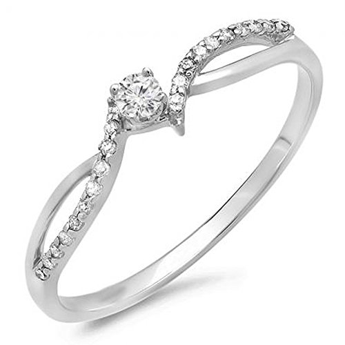 0.15 Carat (ctw) 10K White Gold Round Diamond Ladies Split Shank Promise Engagement Ring (Size 9.5) by DazzlingRock Collection