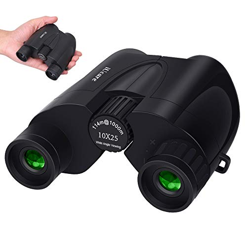 10 X 25 Binoculars for Adults Kids Portable Compact Bak4 Prism FMC Low Light Night Vision Binoculars 374 Feet Wide Field of View at 1000 Yards Great for Travelling Sightseeing and Outdoor Activities