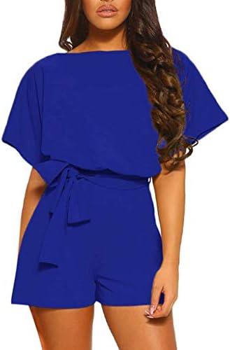 Sunnymi Jumpsuit voor dames casual ronde hals korte mouwen broek met wijde pijpen korte overall met strappy