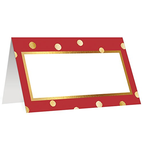 Festive Cards - Red Place Cards 50 Pack Assigned Seating Festive Table Placecards Premium Quality Blank Scored Easy Fold Tented 3.5