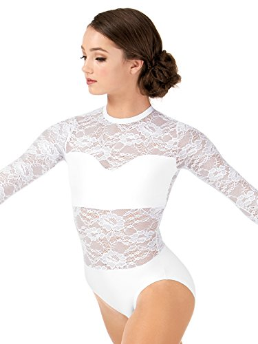 Adult Sweetheart Bandeau Lace Long Sleeve Leotard,LC210WHTS,White,Small