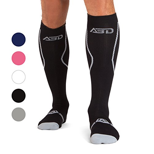 Diabetic Basics Healthy Foot (Premium Compression Socks 4 Recovery by ABD ATHLETE feature 15-20 mmHg Graduated Compression Technology Making Ideal Air Travel, Shin Splints, Diabetic & Crossfit socks 4 Men & Women)