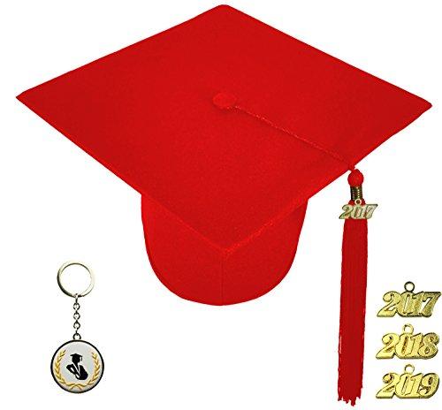 [해외]FIT4GRAD 매트 디럭스 졸업 캡 술 현수막 세트 2017 2018 2019, 빨간색/FIT4GRAD Matte Deluxe Graduation Cap Tassel Signet Set 2017 2018 2019, red