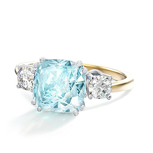 Blue Cubic Zirconia Ring - Samie Collection Meghan Markle Engagement Ring Inspired by Royal Wedding in 18K Gold Plating
