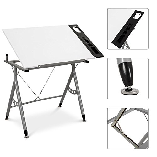 Safstar Adjustable Drafting Drawing Table Desk Tiltable Tabletop for Reading Studying Writing Art Craft Work Station with Side Tray White