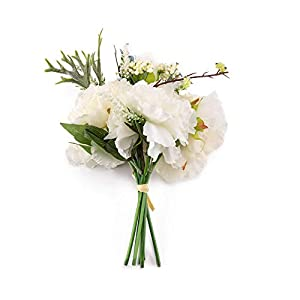 """Saideke Home Artificial White Peony and Hydrangea Silk Wedding Bouquet in White Green - 11"""" Tall 46"""