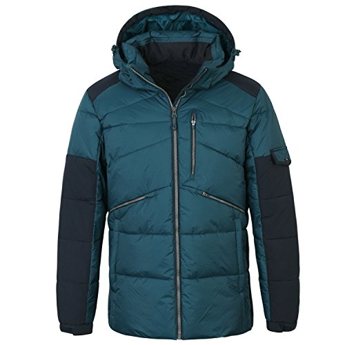 ililily Men Two Tone Casual Padded Down Alternative Warm Thick Winter Jacket, Green Blue, US-XL ()