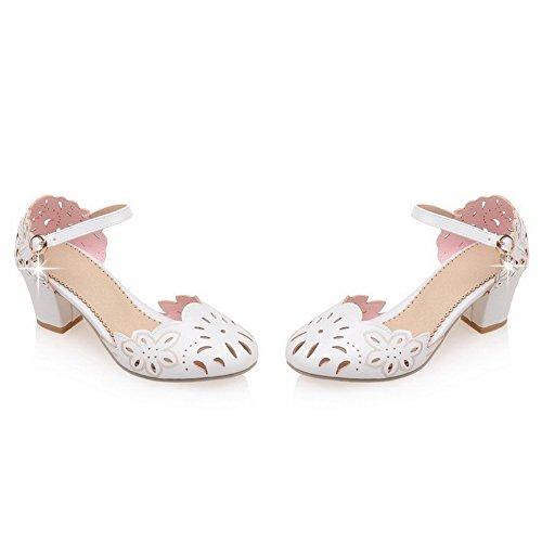 Buckle Women Wide Solid Agoolar Toe Round Sandalo White Heel Closed 4COwZ0q