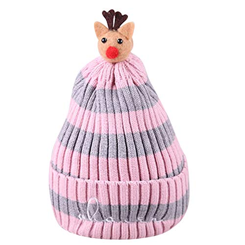 Angels Jersey Tote - Toddler Winter Christmas Cap,Tronet Girls Boys Baby Fawn Crochet Knit Hat Striped (Pink)