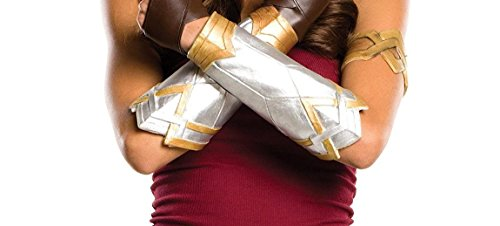 Stripe Gauntlet - Wonder Woman 2017 Costume Gloves - Brown Leather Gloves By Miracle (XL, Gauntlets (Grey & Gold))