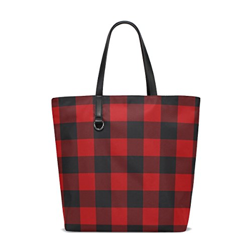 ALAZA Christmas Plaid Red Black Tote Bag Purse Handbag for Women Girls