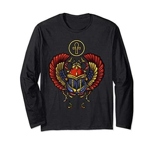 Egyptian Scarab Beetle Ankh Cross Ancient Symbol Archeology Long Sleeve T-Shirt ()