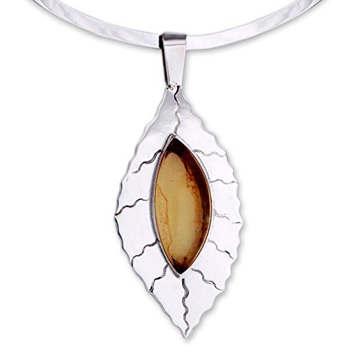 NOVICA Amber .925 Sterling Silver Choker Necklace, 12.5