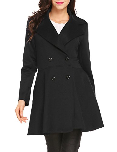 Womens Fitted Lightweight Peacoat (BURLADY Women's Double-Breasted Notched Lapel Long Sleeve Trench Coat)