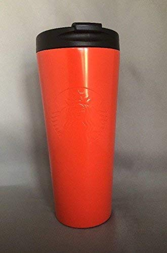 Starbucks Orange Embossed Siren Logo Stainless Steel Tumbler Cup 16 Oz