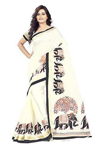 Jaanvi fashion Khadi Silk Elephant Motifs Kalamkari Printed Saree, White