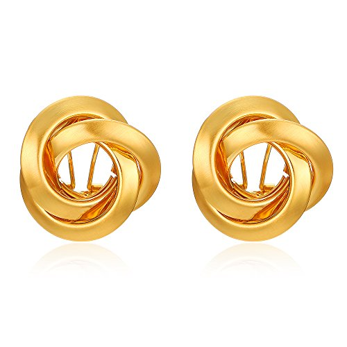 Mytys Stainless Steel Circle Cross Earrings Golden Plated Hoop Eearrings Matte Brushed for Women Girl