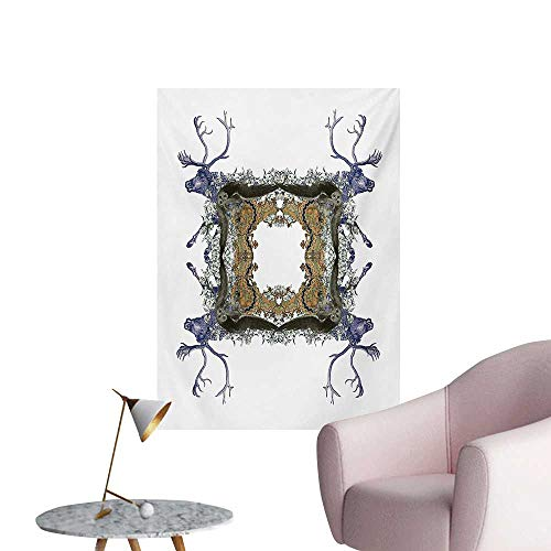 Anzhutwelve Victorian Wall Sticker Decals Frame with Two Girl Flying to Two Owl Two Hunter Animal Wildlife JungleViolet Tan Pearl W32 xL36 Poster Paper ()