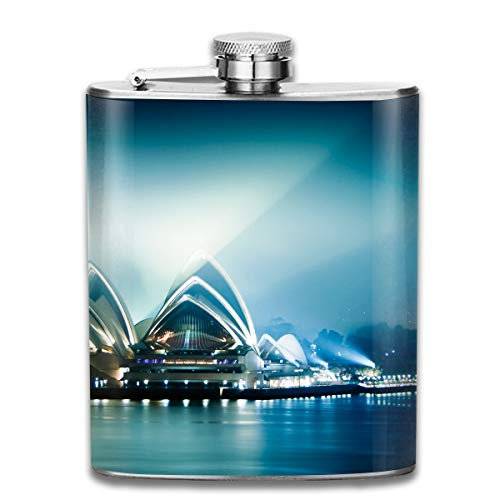 Laki-co Moon Sydney Theatre Wine Water Hip Flask for Liquor Stainless Steel Bottle Alcohol 7oz