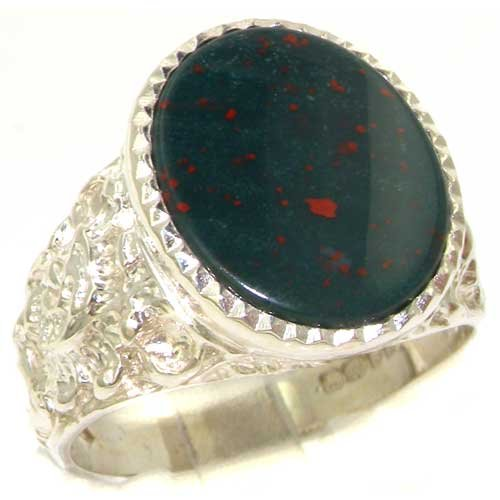 Gents Solid 925 Sterling Silver Natural Bloodstone Mens Mans Signet Ring