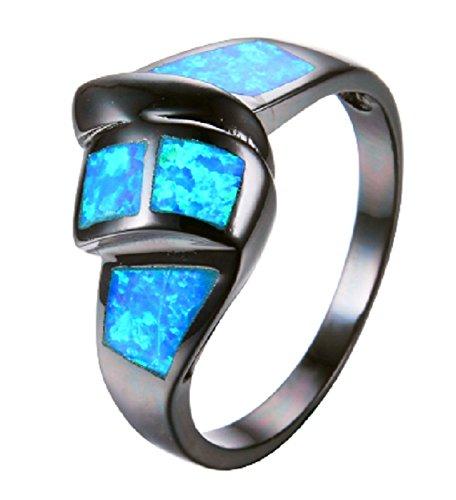 Twist Ocean Blue Fire Opal Ring Black Gold Filled